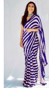 Blue & White Striped Saree